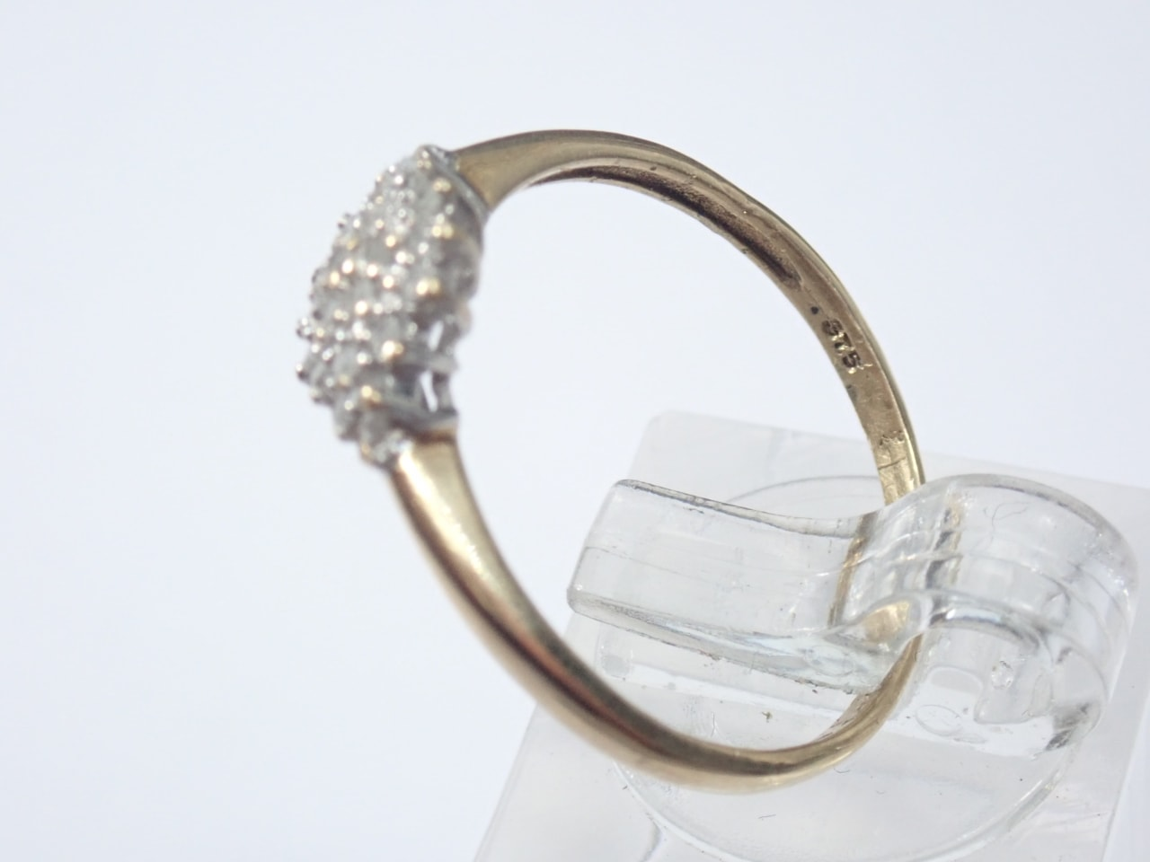 Gold Diamond Cluster Ring - 9K Yellow Gold Size Q1/2 - 1.6 grams