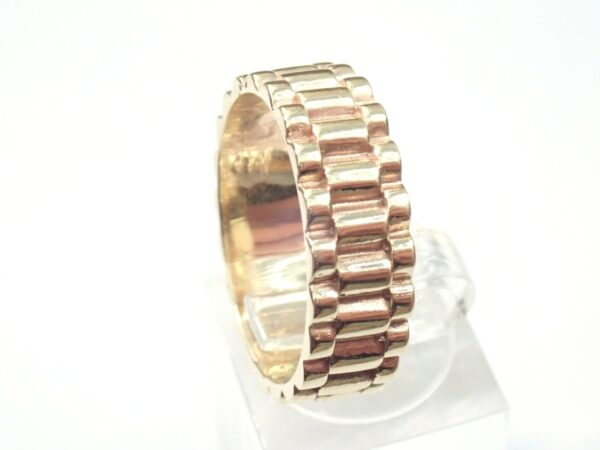 Gold Rolex Watch Strap Style Ring solid 9ct Gold Size V  6.5 grams