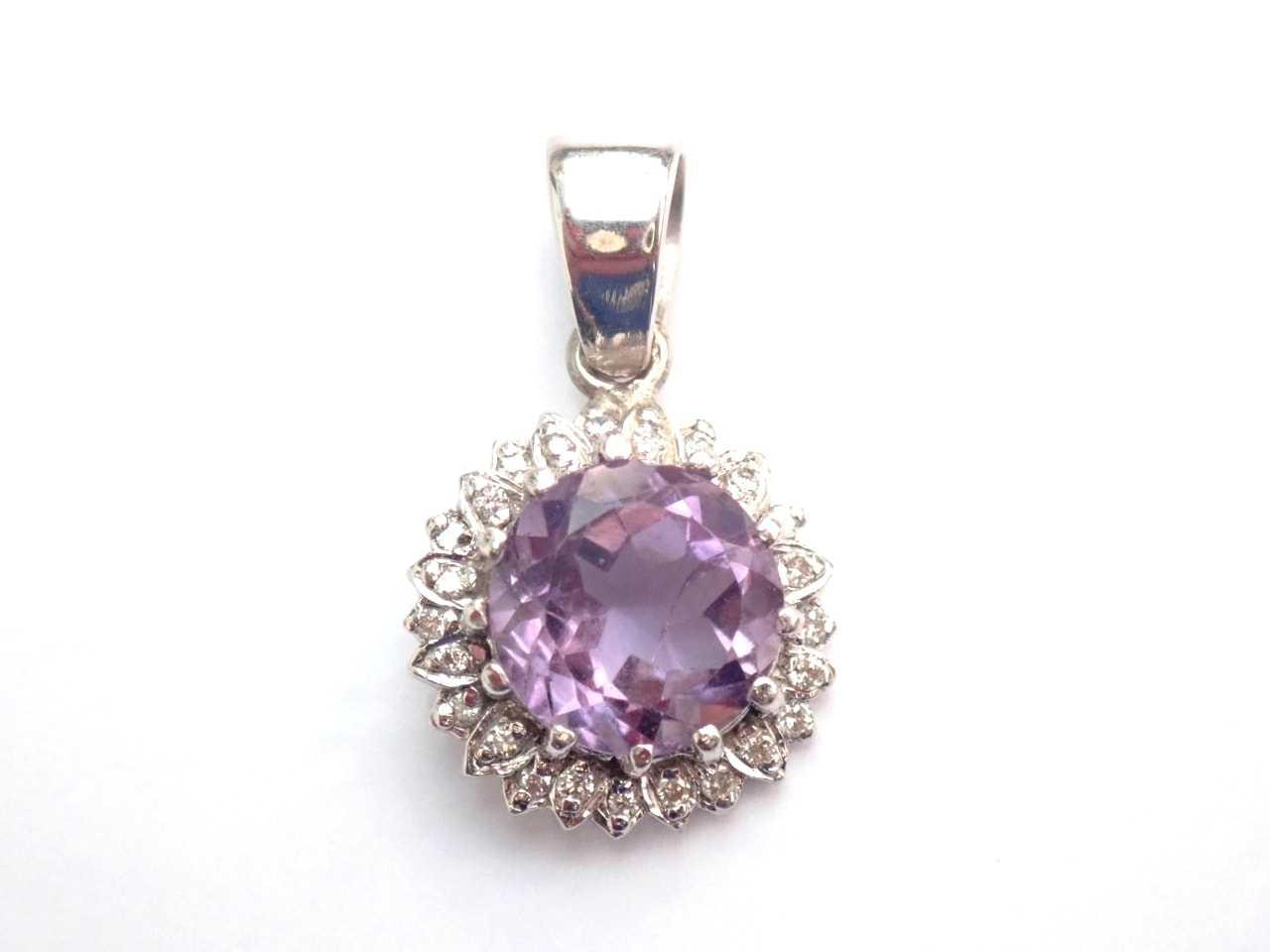 Amethyst Diamond 9ct White Gold Pendant
