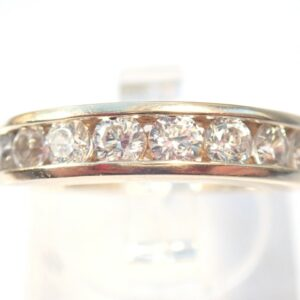 9ct Gold Cubic Zirconia Half Eternity Ring Size L1/2 – 3.2gms