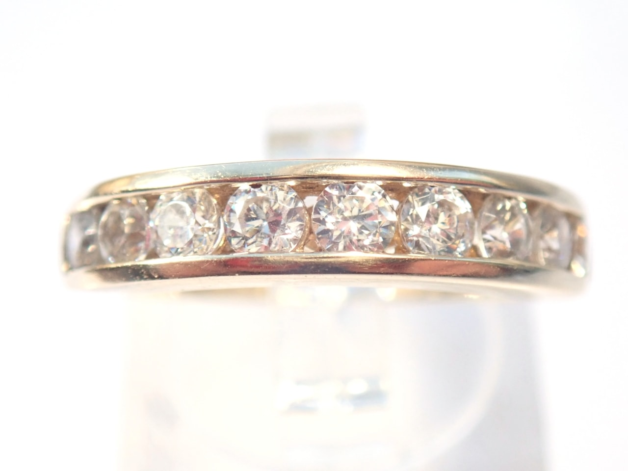 9ct Gold Cubic Zirconia Half Eternity Ring Size L1/2 - 3.2gms