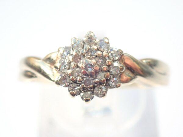 Diamond Cluster Ring – 9K Yellow Gold Size R -3.1 grams