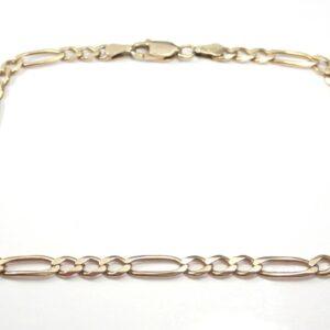 9ct Gold Figaro Bracelet 8 inches 4.3 grams
