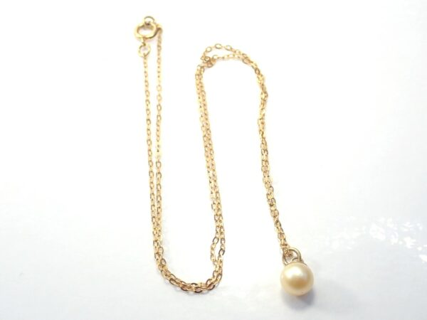 375 Yellow Gold Pearl Pendant 16″ Anchor chain -1.4gms