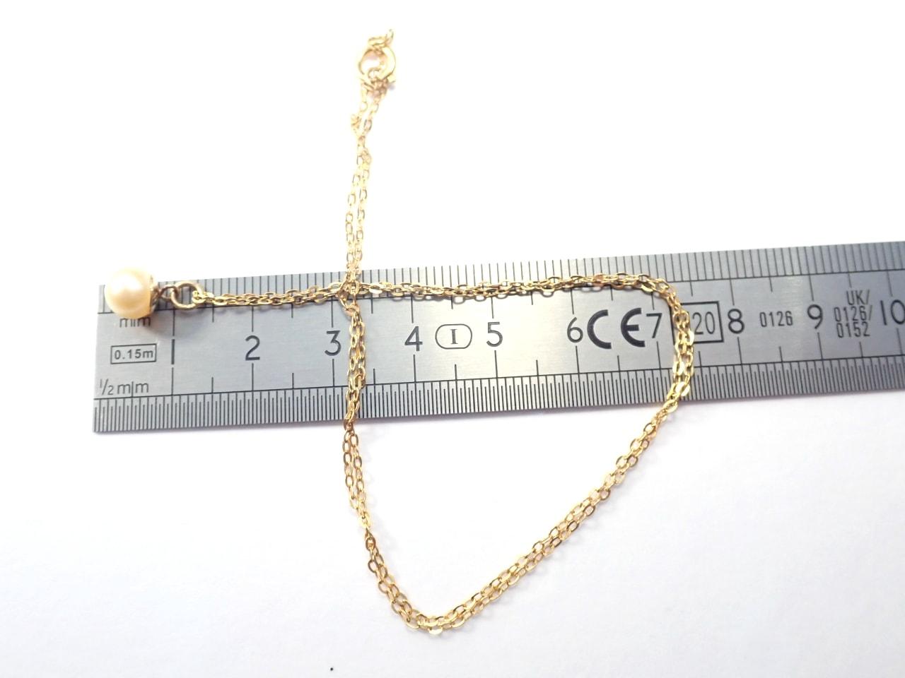 375 Yellow Gold Pearl Pendant 16