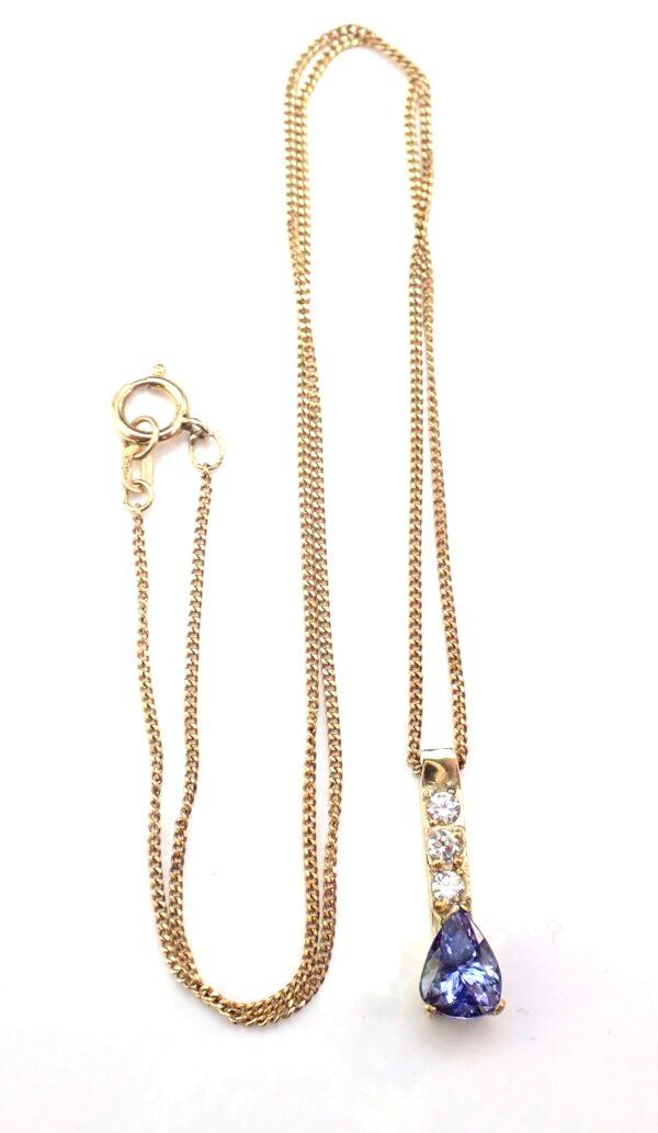 Tanzanite Cubic Zirconia Gold Bar Pendant 17″ Curb Chain