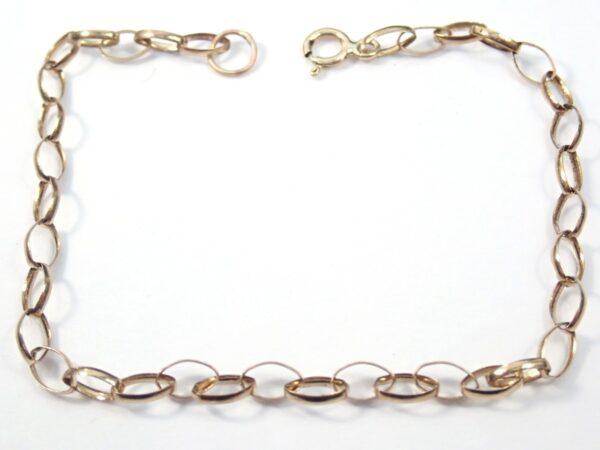 Anchor Chain Bracelet – Anklet Solid 9K Gold  7″ 1.25 grams