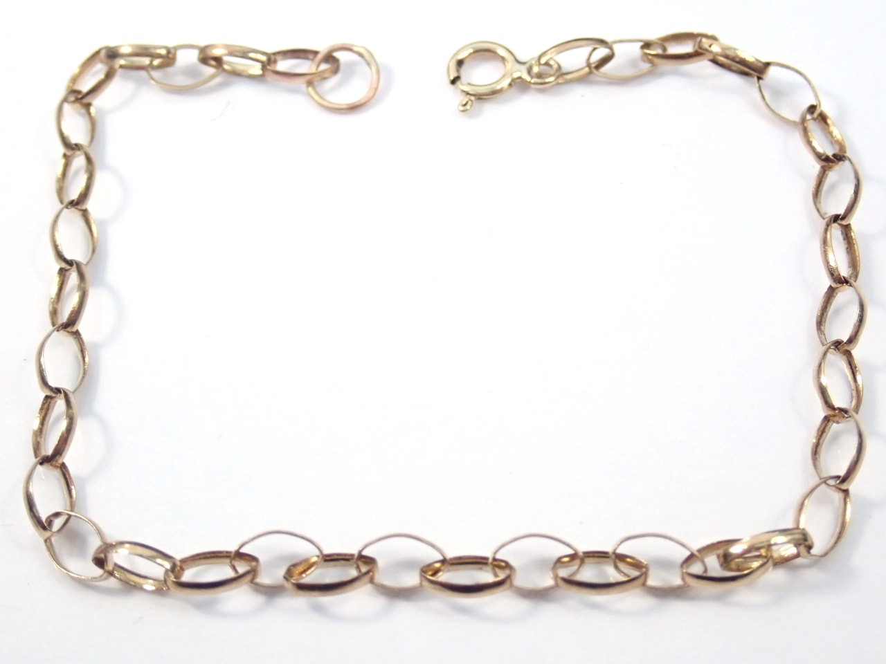 Anchor Chain Bracelet - Anklet Solid 9K Gold 7