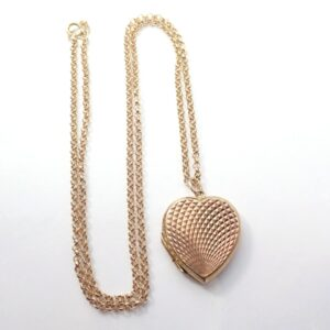 9k Gold Locket Sweetheart Pendant 18″ Belcher Chain -8.0 grams