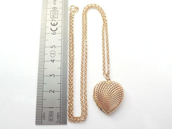 9k Gold Locket Sweetheart Pendant 18″ Belcher Chain -8.0 grams