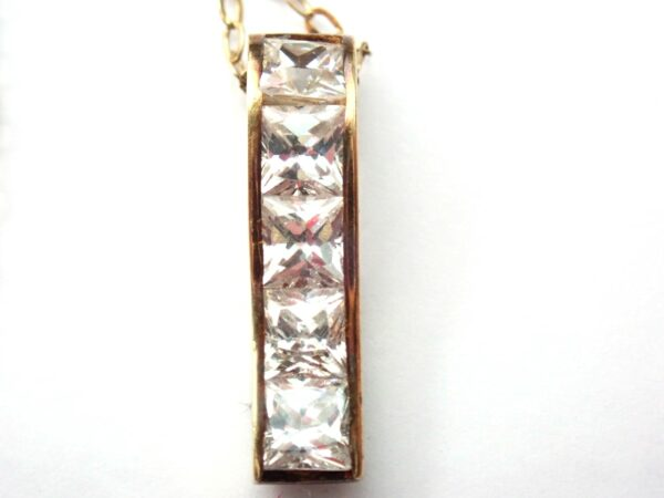 Cubic Zirconia Stick Pendant 14 inch Chain 9 carat Gold