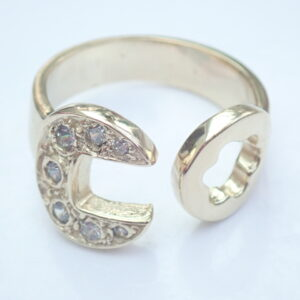 Gold CZ Spanner Ring Solid 9ct yellow Size W to Z+1