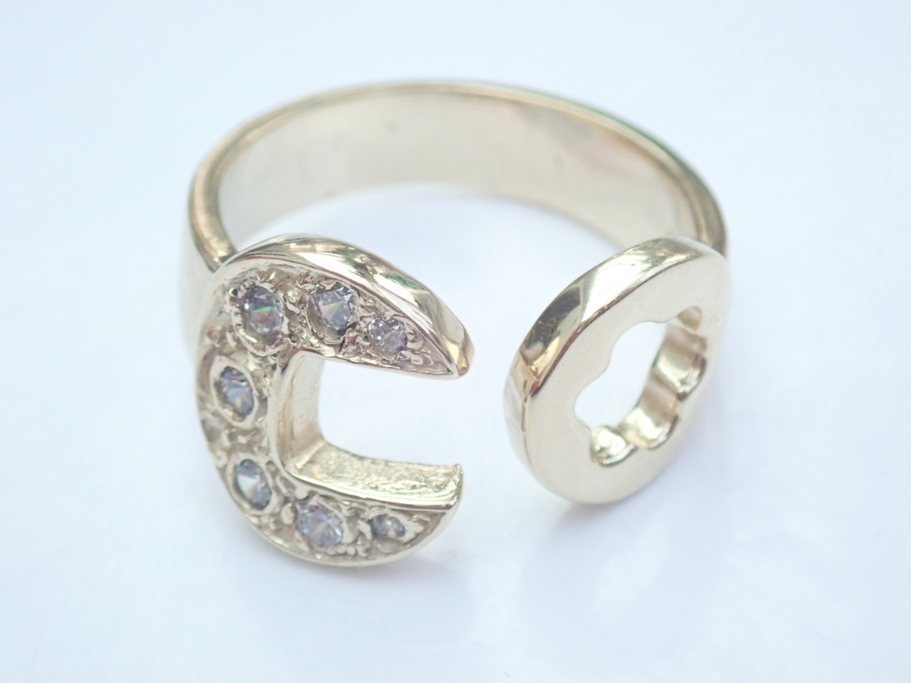 Gold CZ Spanner Ring Solid 9ct yellow Size W to Z+1 - 8.75 gms