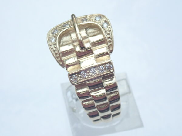 375 Cubic Zirconia Buckle Ring 9ct yellow gold- 10.01gms Size W