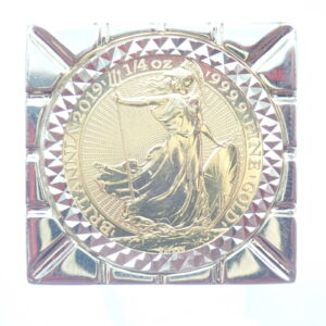 2019 1/4 Oz Britannia & Mount 9ct Gold Clubs Square Top Ring