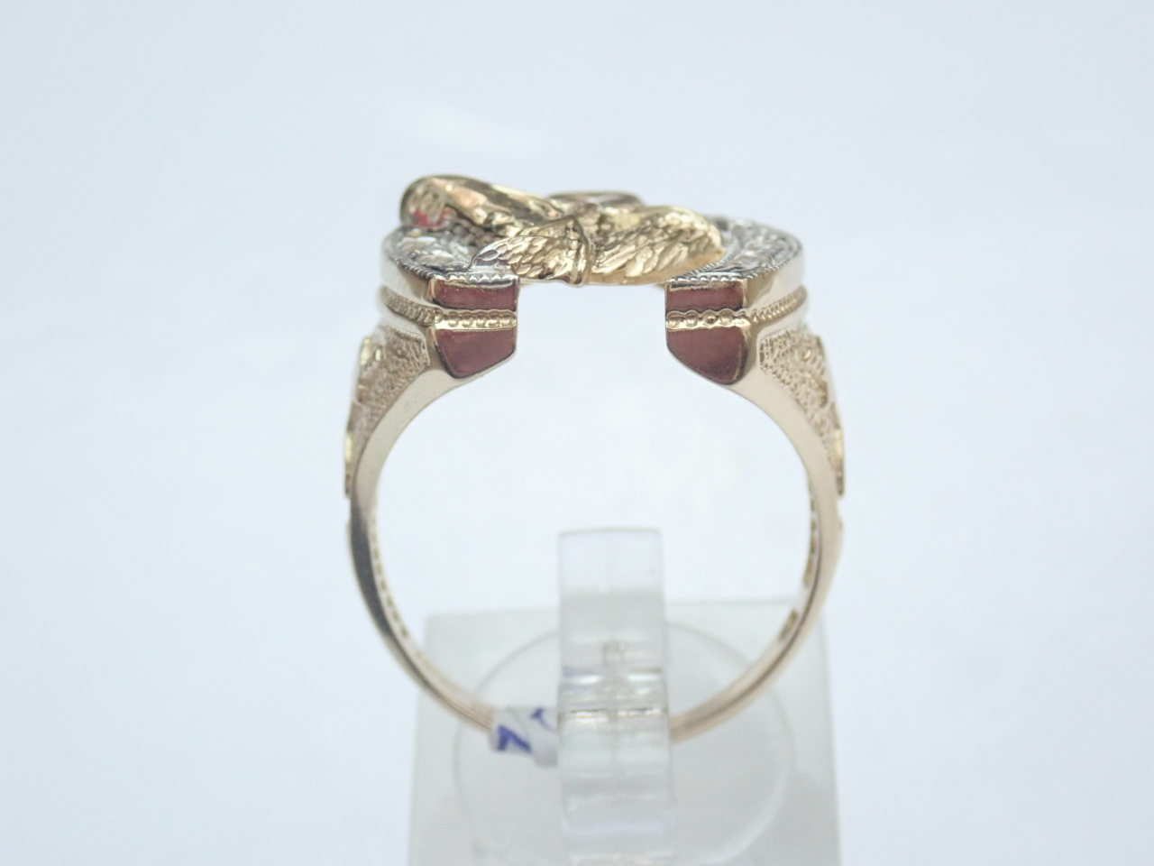 Horseshoe ring with cubic zirconia 9ct 375 Gold Size R ring hand-set with cubic zirconia #180