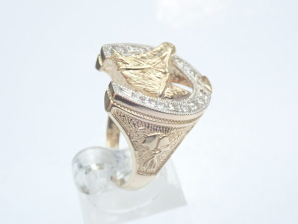 Horseshoe ring with cubic zirconia 9ct 375 Gold Size R
