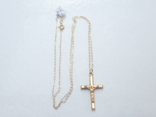 Cross Crucifix Jesus 9K Gold Pendant 16″ Anchor Chain