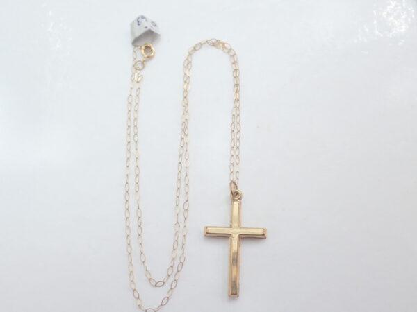 Cross Crucifix 9K Gold Pendant 16 inch Anchor Chain