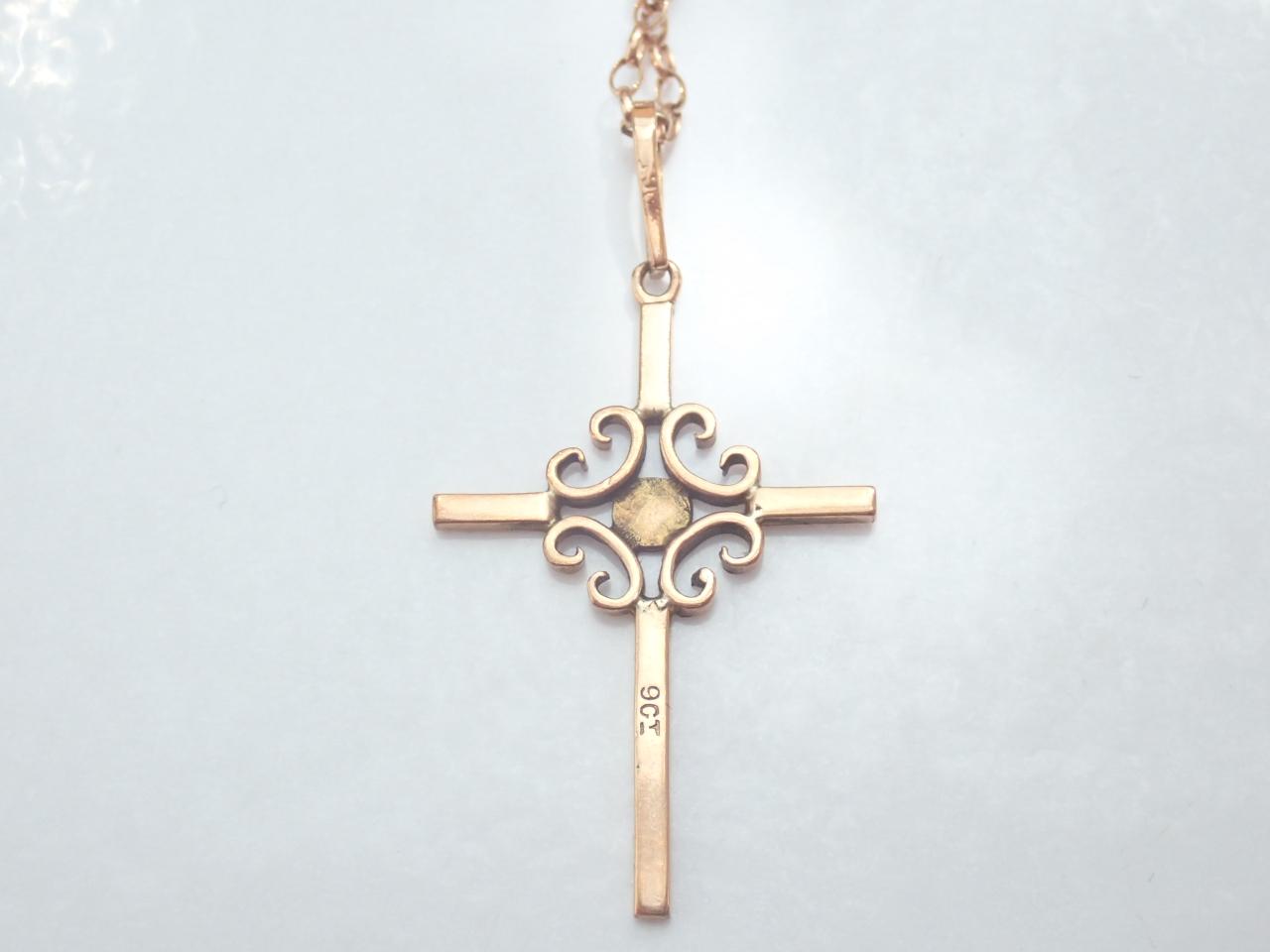 Victorian Rose Gold Cross Crucifix Jesus 9K Gold Pendant 18 inch Belcher Chain