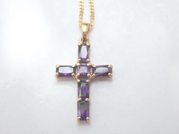 Amethyst Cross Crucifix 9K Gold Pendant 18 inch Curb Chain