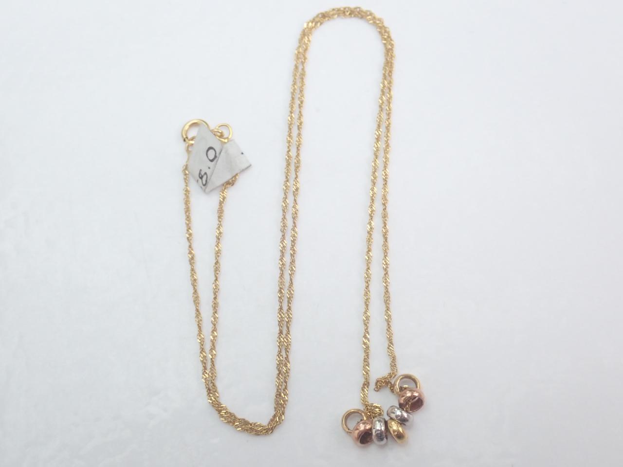 9K Tri coloured Gold Pendant 16 inch Chain