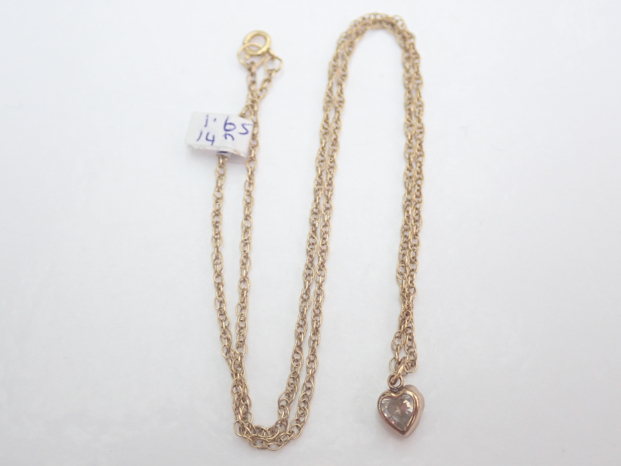 Cubic Zirconia Heart Pendant 375 9k - 14 inch 9k gold Chain