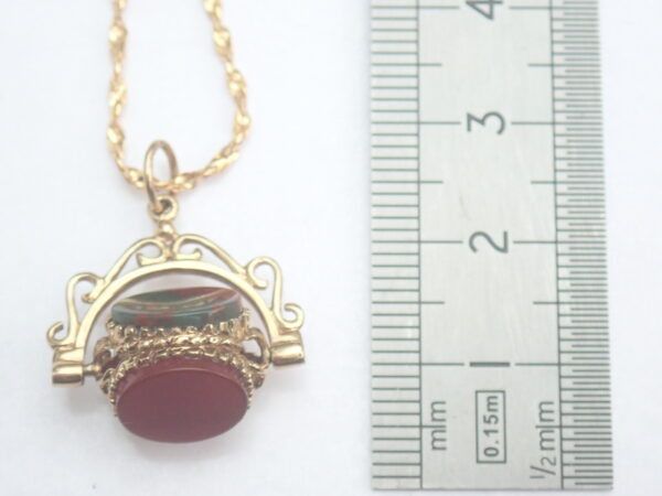 Spinning Blood Stone Fob Pendant 375 9k Yellow 16 inch Necklace