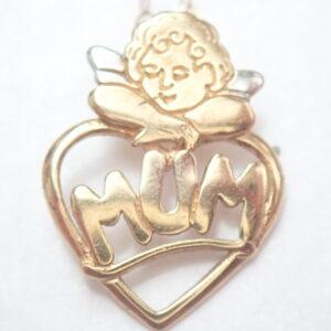 Mum Cherub 9ct Gold Pendant 16 inch Chain