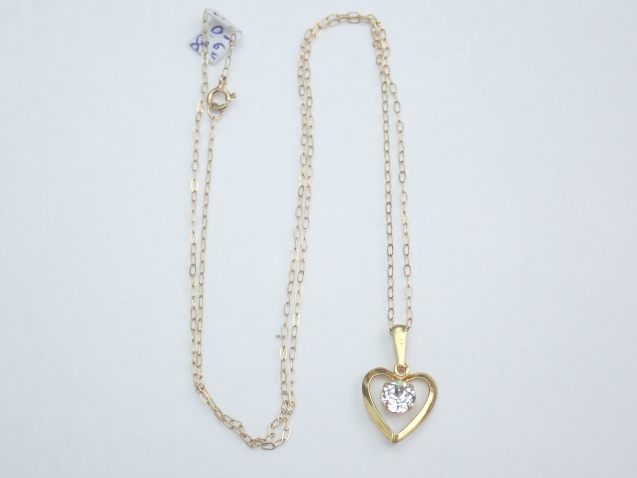 Gold Heart Cubic Zirconia Pendant 375 9k - 16 inch 9k Gold Chain