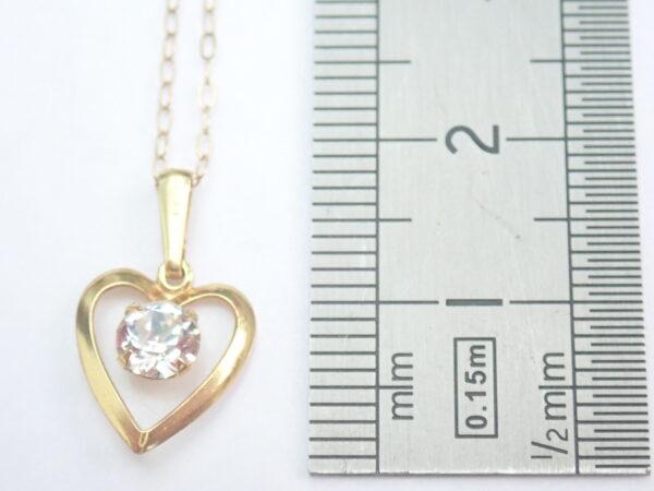 Gold Heart Cubic Zirconia Pendant 375 9k – 16 inch 9k Gold Chain
