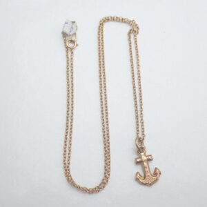 375 Gold Anchor Pendant 16 inch chain- 2.06 gms