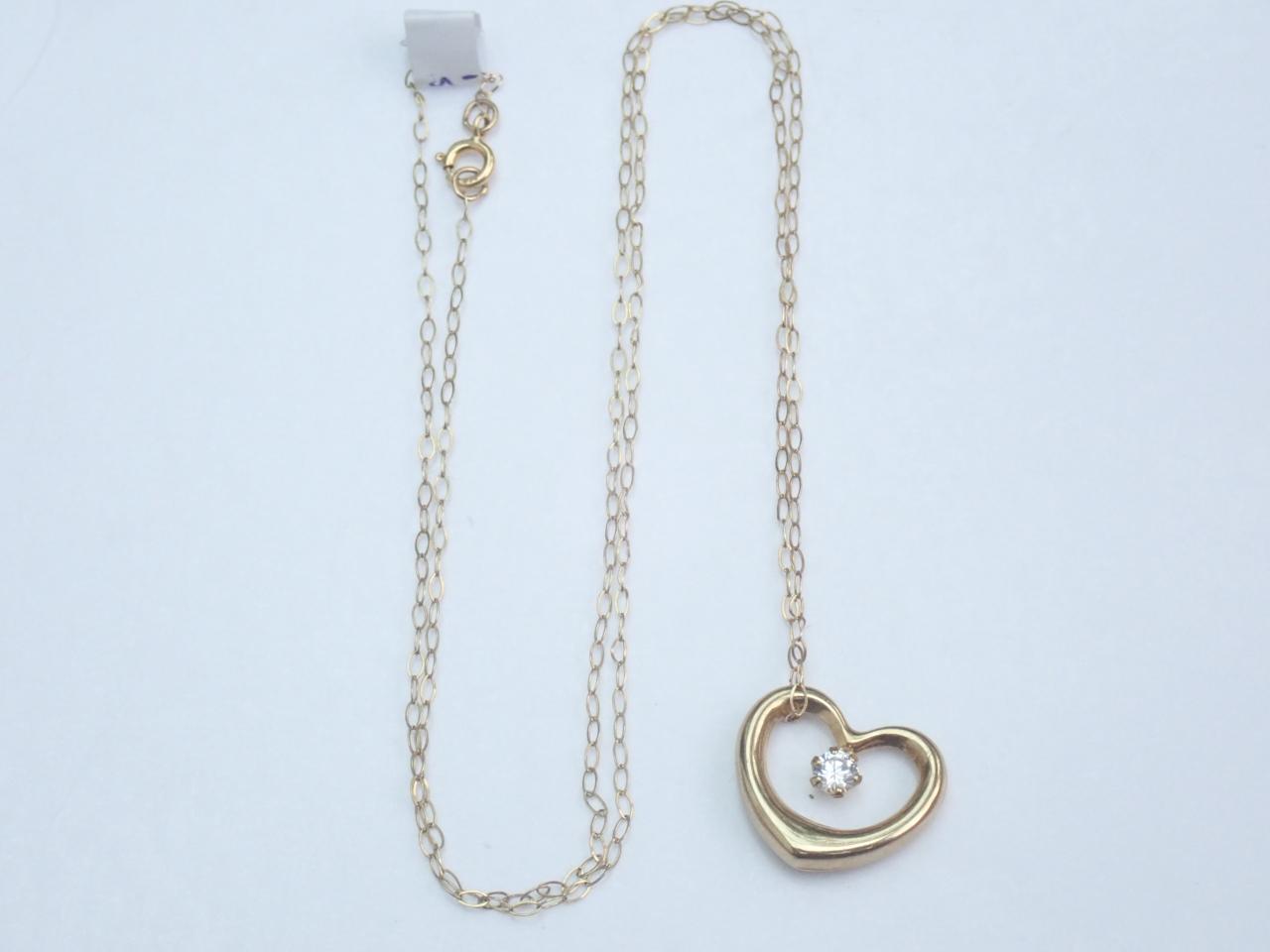 Floating Heart Cubic Zirconia Pendant 375 9k - 16 inch 9k gold Chain