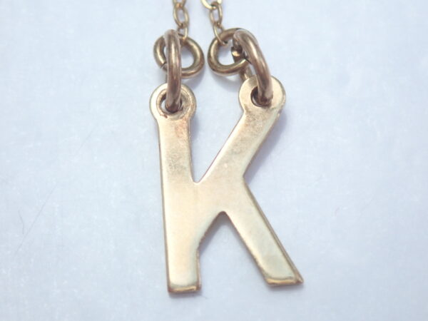 9ct Gold Letter 'k' Pendant 16 inch Chain