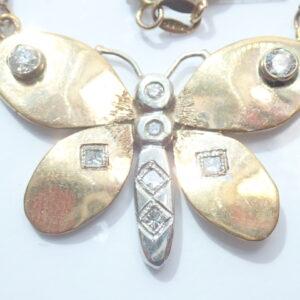 9ct Gold Diamond Butterfly Pendant 0.50tdw – 16 inch Box chain