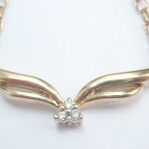 9ct Gold Diamond Trio Pendant 0.15tdw – 18 inch Belcher Chain