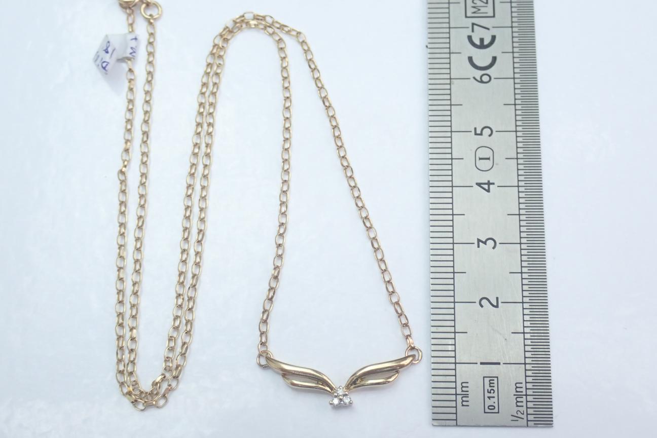 9ct Gold Diamond Trio Pendant 0.15tdw - 18 inch Belcher Chain