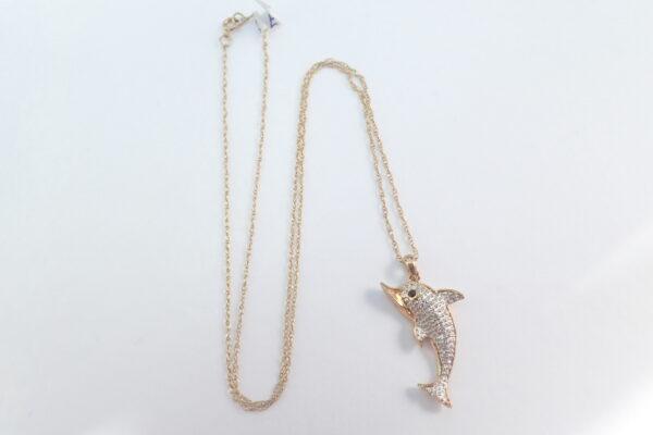 5x Diamond Set Dolphin Pendant 9k -375 Gold – 18 inch Chain