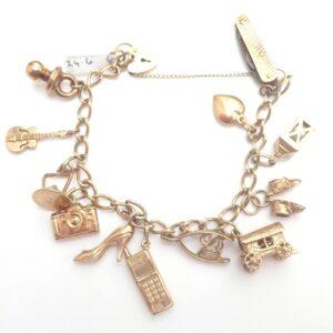 Charm Bracket 9k Yellow Gold Curb Chain 12 Charms Bracelet 7inch