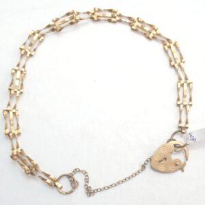 3 bar Gate Bracelet 9ct Gold 6.5 inch 2.6grams