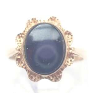 9ct Solid Gold Oval Onyx Signet Ring – Size K – 1.75gms