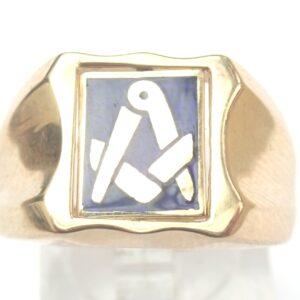 Freemasons Spinning Ring 9 carat Gold Signet – Size S- 6.3gms