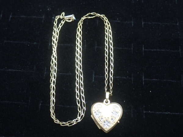 Floral Locket Sweetheart 9k Gold Pendant 20 inch chain- 4.23grams
