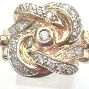 Cubic Zirconia Knot Ring 9ct Yellow Gold Hand Finished