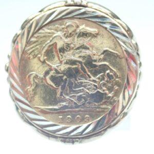 22 Carat Gold Half Sovereign & 9ct Gold Mount Ring