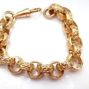 375 Yellow Gold Belcher Bracelet Large Gents 9 Inch
