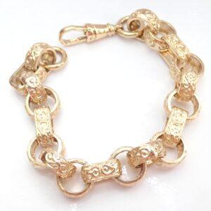 375 Yellow Gold Gypsy Belcher link Bracelet 9 Inch