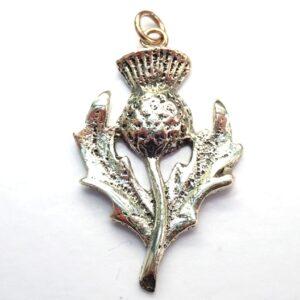 Scottish Thistle Pendant Solid 375 9ct Gold Handmade