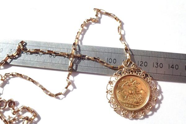 Victoria 1894 22k Full Sovereign 9carat 22 inch chain and Pendant