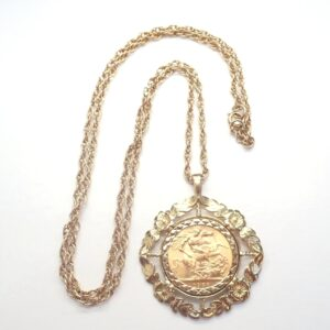 9k Gold Mount and 24 inch Chain with 1958 22k Full Sovereign